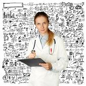doctor woman looking at camera, with pen in her hand, isolated on different backgrounds
