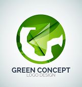 Abstract Earth logo design made of color pieces - various geometric shapes