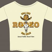 stock photo of wrangler  - White Rodeo Tee Shirt with Cowboy Hat and Cattle Skull Graphics - JPG