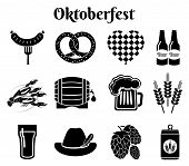 foto of pretzels  - Vector Oktoberfest beer icons set with sausage - JPG
