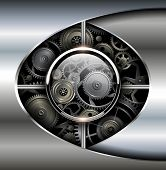 Abstract background 3D metallic with technology gears, vector.