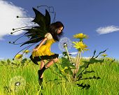 Dandelion Fairy with Springtime Background
