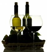 Silhouette Of Winebottles And Grapes In Basket