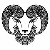 Vector Decorative Sheep with Patterned Horns