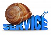 image of snail-shell  - Service Problem concept as three dimensional text shaped as a snail with a shell as a symbol for poor slow customer care and lacking motivation on a white background - JPG