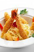 Japanese Cuisine - Fried Shrimps with Vegetables
