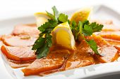 Sliced Salmon with Lemon and Greens