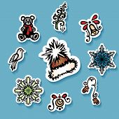 Vector Set of Stickers with Ornamental Christmas Things