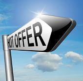 hot offer sales promotion addvertising or sign for online internet web shop. Webshop shopping sales