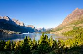 Scenic View Of Mountain Range In Glacier Np, Montana