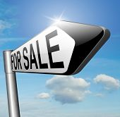 For sale banner, selling a house apartment or other real estate sign buy or sell online on internet