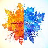 Autumn - winter season watercolor vector illustration