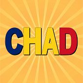 Chad flag text with sunburst vector illustration