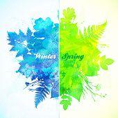 Winter and spring season watercolor illustration