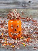 Scary Large Orange Pumpkin Ceramic Jar On Rustic Wood