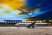 Jet Plane Flying Over Runways And Beautiful Dusky Sky With Copy Space Use For Air Transport ,journey