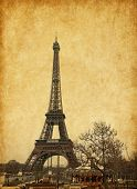 Eiffel tower, Paris, France. Added paper texture.