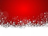 stock photo of glowing  - Illustration of winter red christmas background with stars - JPG