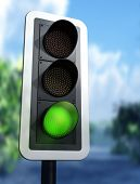 image of traffic light  - Illustration of a green traffic light on a country road - JPG