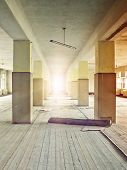 floor bathed in sunlight in an abandoned industrial complex