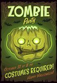 Zombie Jack lantern. Halloween poster \ background \ card. Vector illustration.