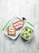 slice bread with radish mustard and avocado sauce