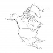 Outline On Clean Background Of The Continent Of North America