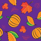 Seamless pattern with pumpkins and leaves.