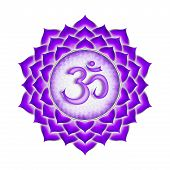 stock photo of kundalini  - Illustration of a purple crown chakra mandala - JPG