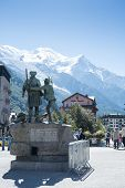 CHAMONIX, FRANCE - SEPTEMBER 02: Bronze statue of H.B. de Saussure. In 1760, the alpine traveller of