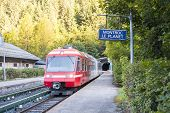 MONTROC, FRANCE - SEPTEMBER 02: Alpine tram at Montroc village station. The area is a stage of the p