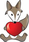 Fox holding a heart shape