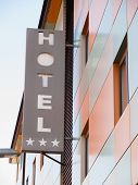 Hotel Word In The Facade Of A Hotel