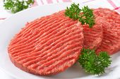 detail of raw hamburger patties with parsley on white plate
