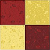 four seamless backgrounds with wine