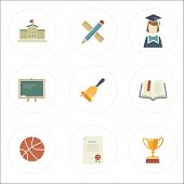 Modern Flat Style School Icons
