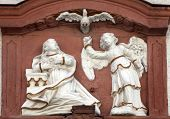 MILTENBERG, GERMANY - 20 JULY: The Annunciation, bas relief on the main street of Miltenberg, Lower