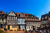 The medieval city center of historical Gelnhausen in Germany.
