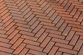 Red Brick Road Pavement, Abstract Background Texture