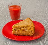 Portion Of Oat Flour Cake And Glass Of Tomato Juice