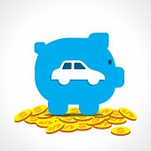 save money in piggy bank for purchase car concept vector