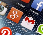 Belgrade - April 26, 2014 Popular Social Media Icons Google+, Gmail And Other On Smart Phone Screen