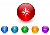 compass internet icons colorful set
