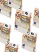 Fifty Euro Bill Collage With Isolated On White