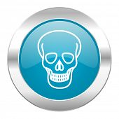 skull internet blue icon