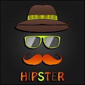Retro hipster mustache, glasses and hat poster