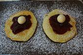 Homemade American Pancakes With Cherry Jam
