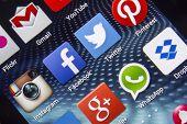 Belgrade - April 03, 2014 Popular Social Media Icons On Smartphone Screen