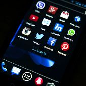 Belgrade - January 31, 2014: Popular Social Media Icons On Smartphone Screen