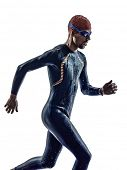 man triathlon iron man athlete swimmers swimmers running in silhouette on white background